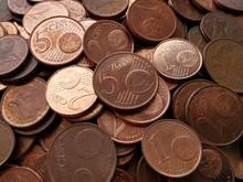 Euro Cent Coins Texture Background.  Selective Focus.
