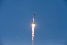 Baikonur, Russia - 10.23.12: Rocket Soyuz In The Blue Sky