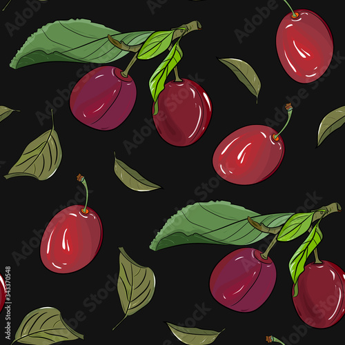Ripe red plum seamless pattern Canvas Print