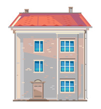 One Old-fashioned Three-storey European Apartment Building In Flat Style Isolated, Central European Brick Building In Front View With Red Roof Tile