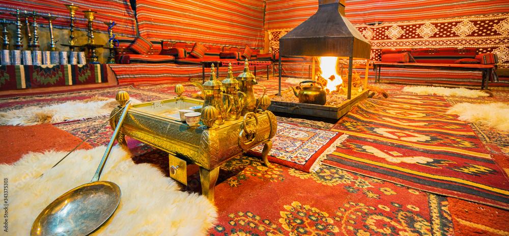 Fototapeta Inside of a traditional Bedouin tent in Arab desert. Banner edition.