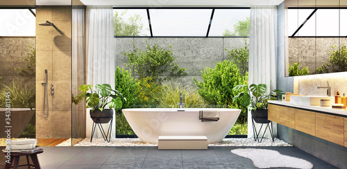 Fotografía Luxurious modern bathroom with bathtub and large window