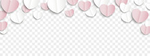 White Pink Paper Folded Hearts...