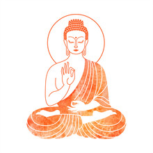 Sitting Buddha Watercolor Vector Illustration. Hand In Vitarka Mudra Gesture - Debate And Transmission Of Buddhist Teaching. Indian, Yoga, Esoteric Watercolour Design Element For Cards, Posters.