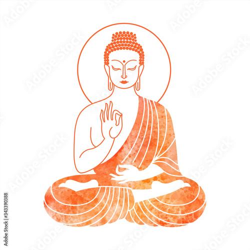 Sitting Buddha watercolor vector illustration Fototapeta
