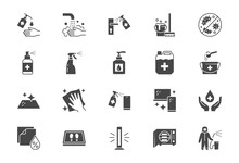 Disinfection Flat Icons. Vecto...