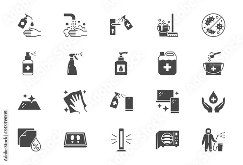 Photo Disinfection flat icons