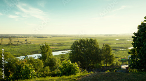 Photo Panorama of Biebrza river in Biebrza National Park, Poland