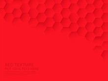 Hex Texture. Red Hexagon Pattern, Abstract Chemistry And Biotech Technology Science Vector Hexagonal Modern Paper Cut Background