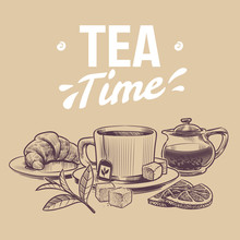 Sketch Tea. Hand Drawn Objects For Tea Shop, Mugs And Kettle Tea Leaves And Dried Herbs, Croissant And Lemon Slices Vector Background