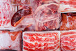 canvas print picture - Frozen raw meat wrapped on a box in the freezer