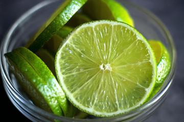 cut lime on a black background citrus organic