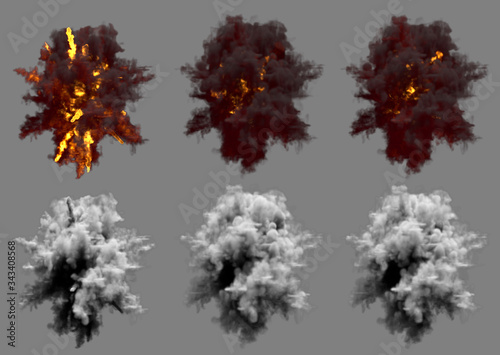 Photo 6 round explosions of missile interception blast or antiaircraft gun shell hit o