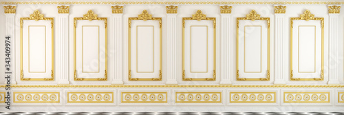 White classic wall with golden mouldings and marble floor showing an elegant and luxury empty interior room in landscape format for backgrounds Wallpaper Mural