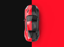 Red And Black Generic Brandless Car On A Black And Red Background