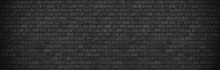 Darl Black Grey Brick Wall , Wide Panorama Of Masonry ,panaromic Hight Resolution Photo