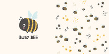Busy Bee. Cartoon Seamless Pat...