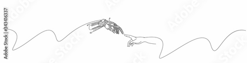 Obraz Hands of Robot and Human hands touching with fingers, Virtual Reality or Artificial Intelligence Technology Concept - fototapety do salonu