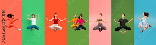 Fotografía Young emotional people jumping high, look happy and calm, balanced on multicolored background
