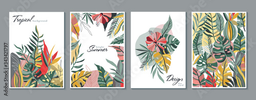 Vector collection of trendy creative cards with floral exotic tropical elements, Wallpaper Mural