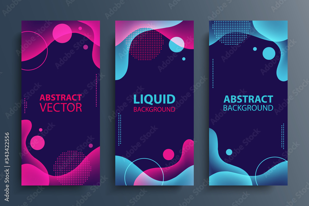 Fototapeta Set of flyers with abstract modern liquid soft forms and shapes, circles and dotted patterns. Fluid color gradient design elements collection. Vector illustration.