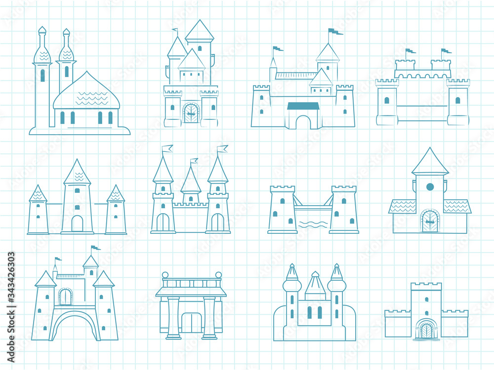 Fototapeta Drawn castles. Gothic medieval royal architectural objects with towers historic fairytale romantic doodle vector castles set. Castle medieval, tower ancient architecture, royal building illustration