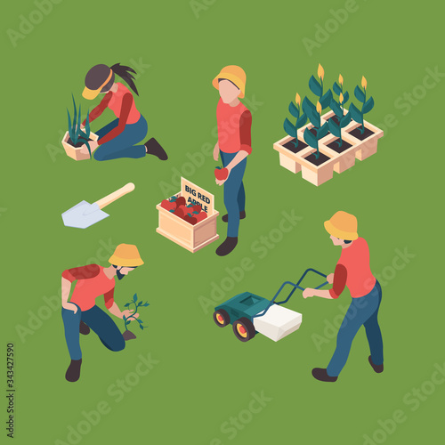 Fototapeta Farmers isometric. Gardeners people farmed professional outdoor working farm vector characters agriculture set. Agriculture and farming, isometric farm garden, farmland and gardening illustration obraz na płótnie