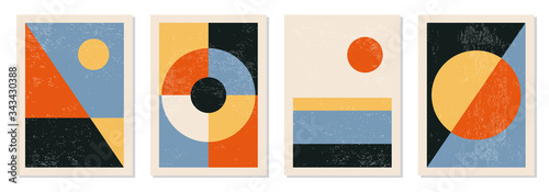 Cuadros en Lienzo Set of minimal 20s geometric design posters, vector template with primitive shap