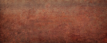 Rusty Sheet Metal, Panoramic Background. Weathered Rust Texture