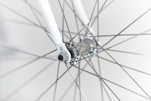 Bicycle Wheel Closeup Front Axle Hub And Fork
