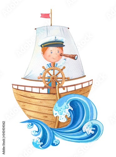 Watercolor little captain at the wheel on ahoy wooden ship Canvas Print