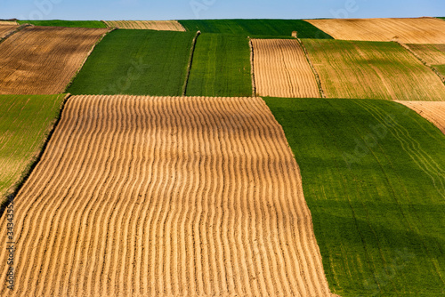 Fotografering Colorful Farmfields in Coutryside