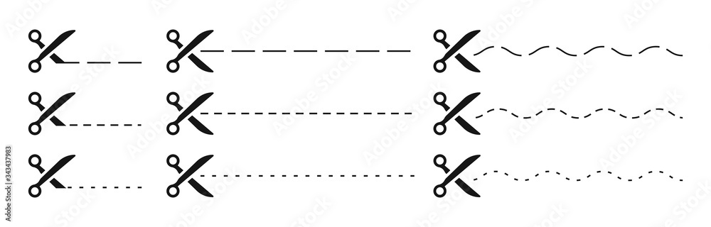 Fototapeta Set of Scissors and coupon, cut template and dashed line. Black icons. Gift Coupon element template, graphics design. Voucher promo code. Shopping, food and drink, business. Vector illustration.