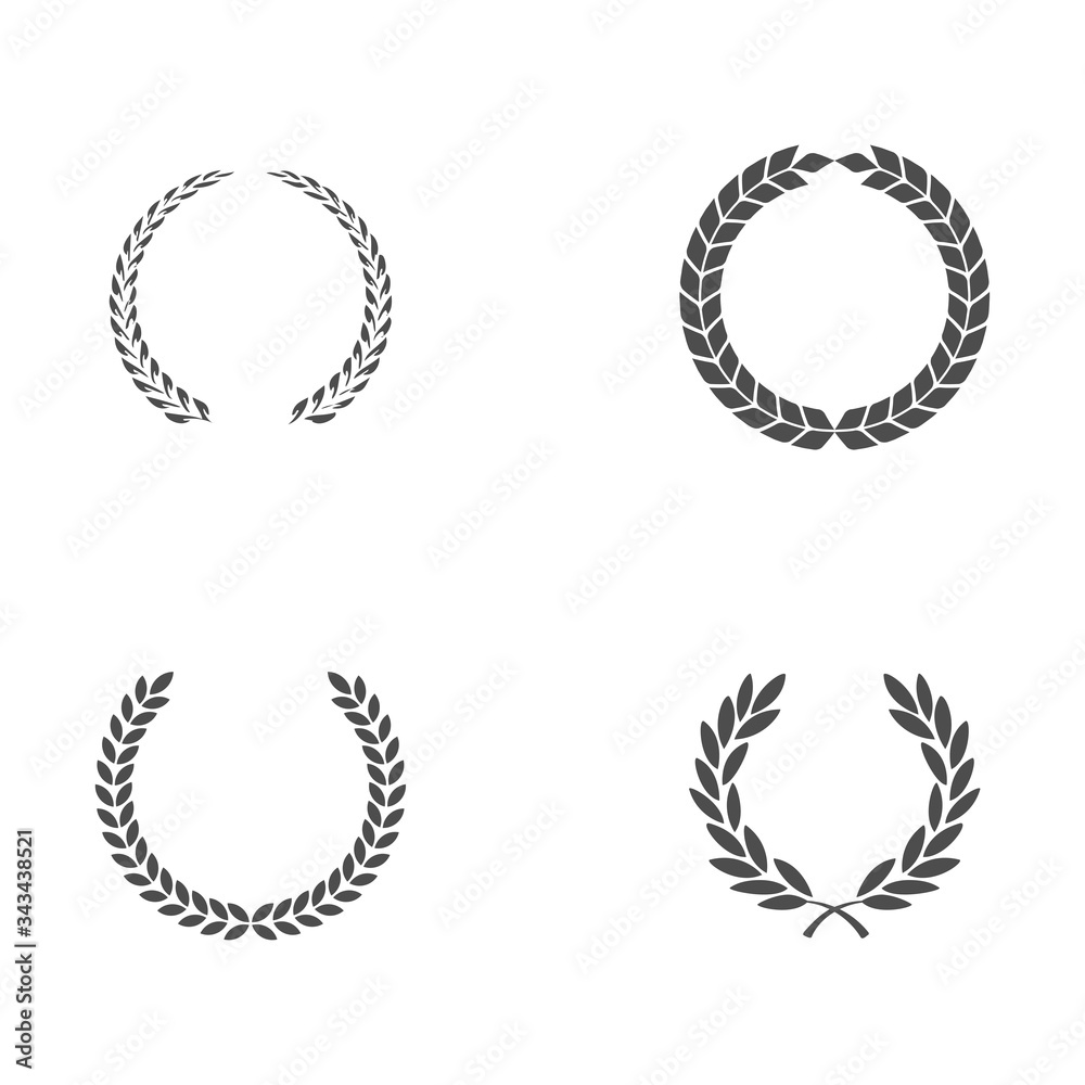 Fototapeta Set black silhouette circular laurel foliate, wheat and oak wreaths depicting an award, achievement, heraldry, nobility on white background. Emblem floral greek branch flat style - stock vector.