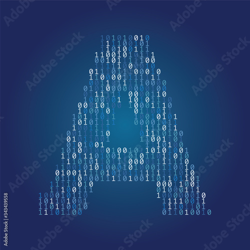 Carta da parati Letter A font made from binary code digits on a dark blue background