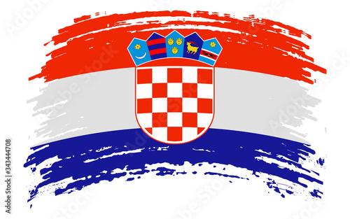 Leinwand Poster Croatia flag in grunge brush stroke, vector