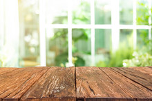 Empty Old Wooden Table In Fron...