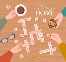 """Stay Home Motivation Poster. Spend Evening Time With Friends, Play The Game """"Scrabble"""". Top View Process. Lifestyle Vector Illustration."""