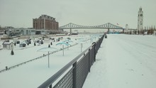 Metal Railing On Frozen River ...