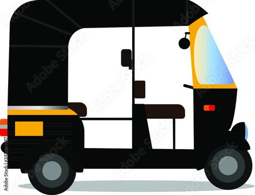 Vászonkép Indian auto rickshaw isolated on white background ,tuk-tuk vector design