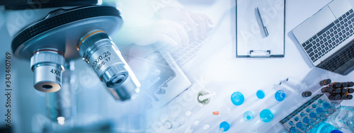 Panoramic web banner of microscope in a medical research lab or science laboratory Fototapet