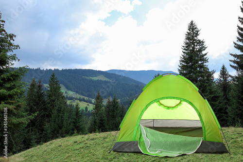 Fotografering Green camping tent near beautiful conifer forest
