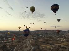 Hot Air Balloons In Sky At Dusk