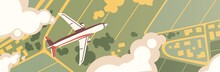 Airplane Flight Top View. Pano...