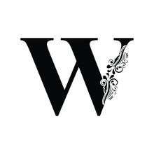Letter W. Black Letters.  Flow...