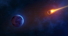 Space Background With Planet Earth And Burning Comet. Giant Asteroid Is Approaching The Earth. Realistic Meteorite Approach. Vector Illustration