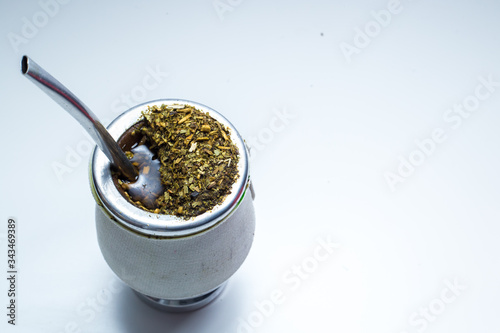 Valokuva Traditional South American Yerba Mate tea, drink top view on degrade grey backgr