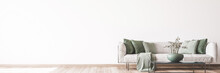 Living Room Interior Mock Up, Modern Furniture And Trendy Home Accessories, On White Background, Panorama