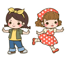 Cute 2 Girl Vector Illustration Isolated On White Background. The Girl Is Wearing A Yellow T-shirt, Green Jacket And Blue Jeans. The Girl Wears A Turban And A Red Polka Dot Skirt Suit.