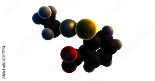 3D rendering of thiomersal (thimerosal, merthiolate) organomercury anion,  controversial vaccine preservative, isolated on transparent background (alpha channel) Canvas Print